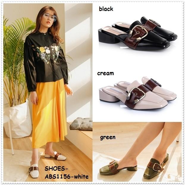 Sepatu sandal selop kulit slip on flat shoes heels wanita korea import
