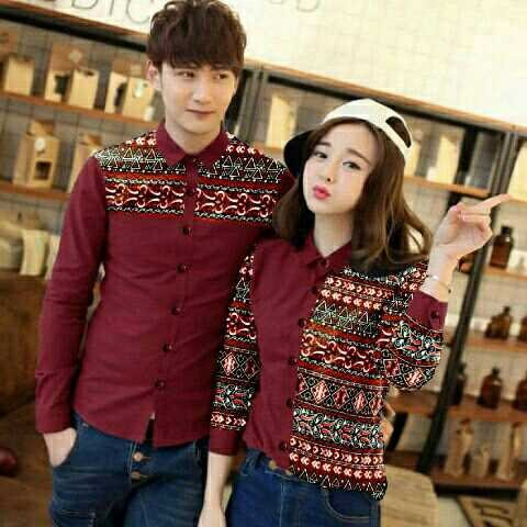Couple laris motif maroon / couple pasangan / cocok untuk pakaian leba