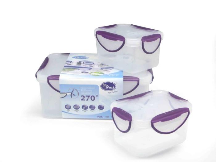 Clip Fresh Classic Box Set 3pcs - Transparan/Lid Violet