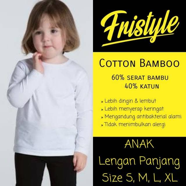 Kaos oblong anak lengan panjang unisex cotton bamboo katun serat bambu