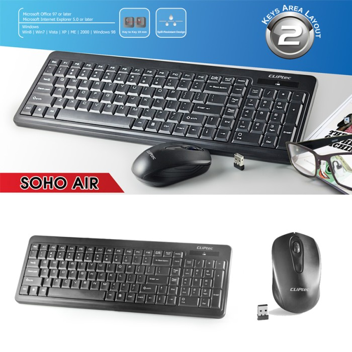 harga Keyboard mouse wireless combo set cliptec rzk337 Tokopedia.com