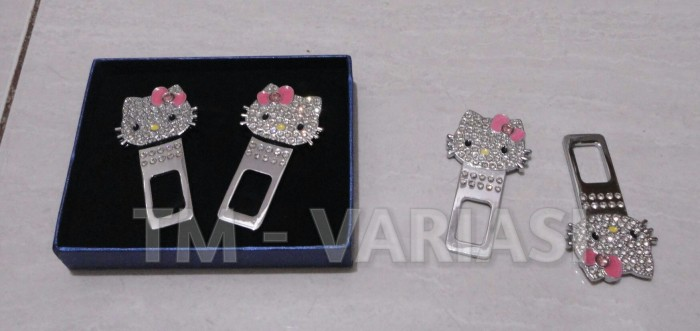 Colokan buzzer seatbelt clip hello kitty swarovski bling bling