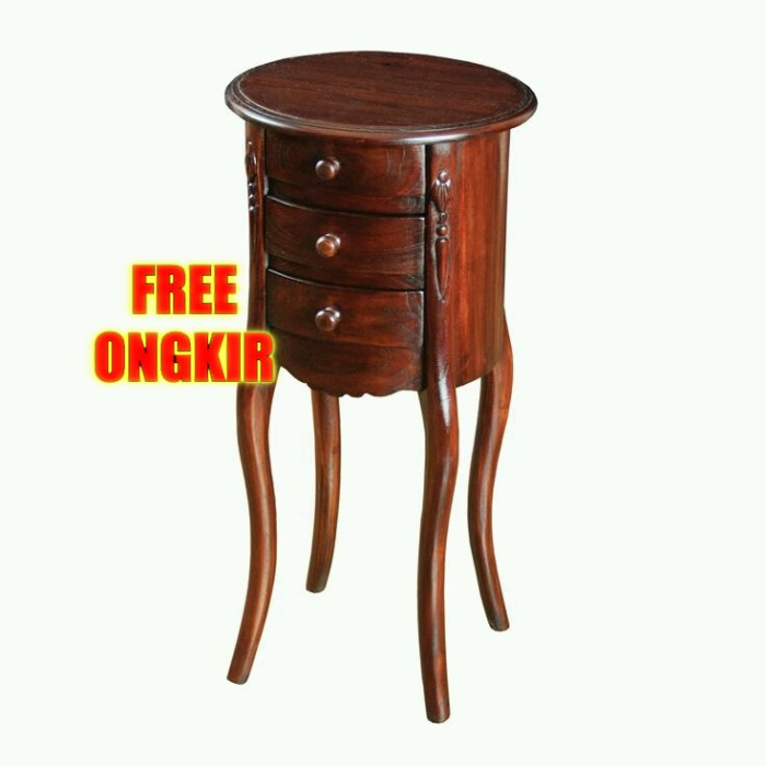 Jual Meja Sudut Bulat Bundar Free Ongkir Nakas Minimalis Natural Jati Kab Jepara Art Decor Furniture Tokopedia