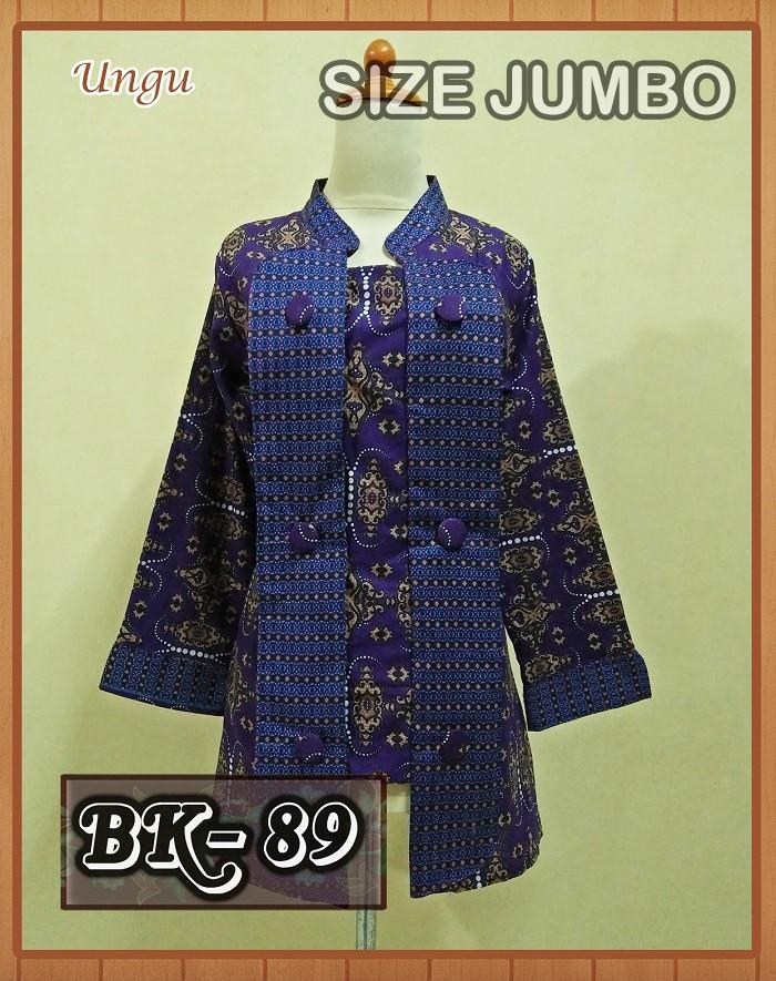 Foto Produk Kualitas PREMIUM Blouse Batik Kutubaru Motif Rantai Putih siza JUMBO dari Apa-Aja Shop