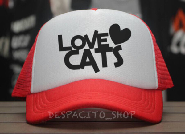 Jual LOVE CATS TRUCKER HAT   TOPI JARING PUTIH MERAH - DESPACITO ... 123fb4b3f51