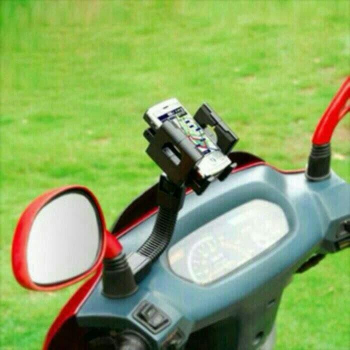 harga Holder hp gps di spion motor - tempat dudukan hp di motor - biru/merah Tokopedia.com
