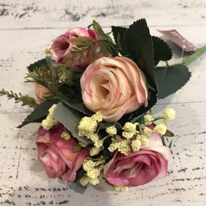 harga Bunga plastik shabbychic bunga artificial mawar pink buket Tokopedia.com