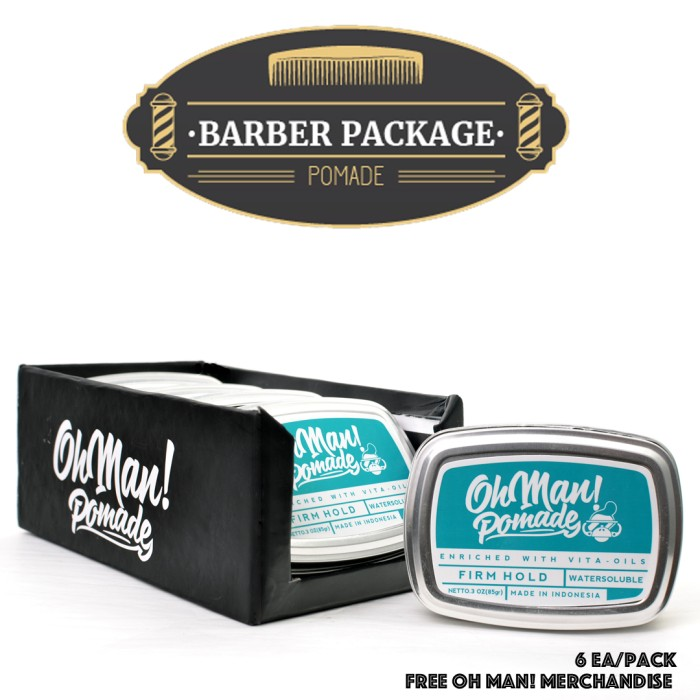 harga Oh man! pomade nutri blue 85gr - barbers pack [isi 6 pcs]