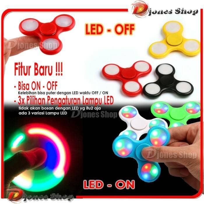 Fidget Spinner LED 3 Titik On Off   Fidget Spinner LED Murah Meriah