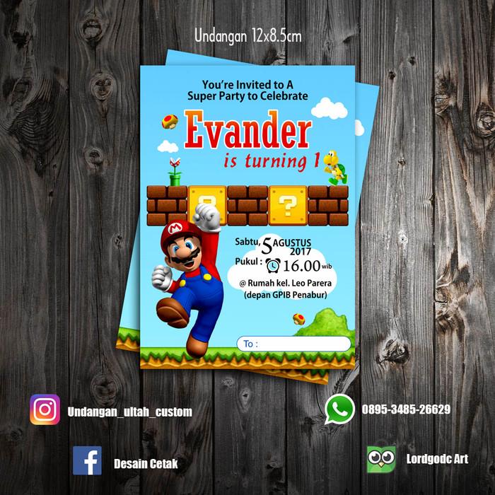 harga Cetak undangan topi dan thanks card ulang tahun tema mario bross Tokopedia.com