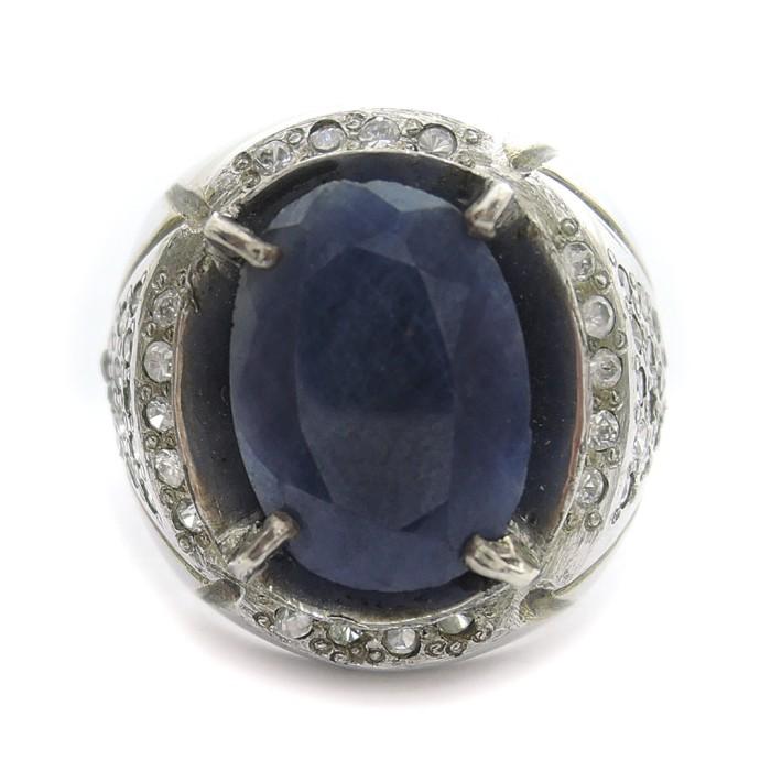 Jual Cincin Perak Batu Blue Sapphire Cincin Perak Cowok Batu