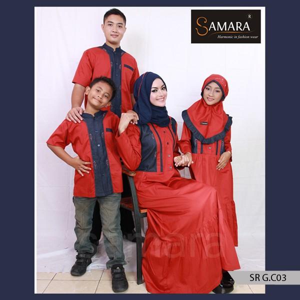 Baju Muslim Keluarga Bahan KatunGamis Sarimbit Murah Samara