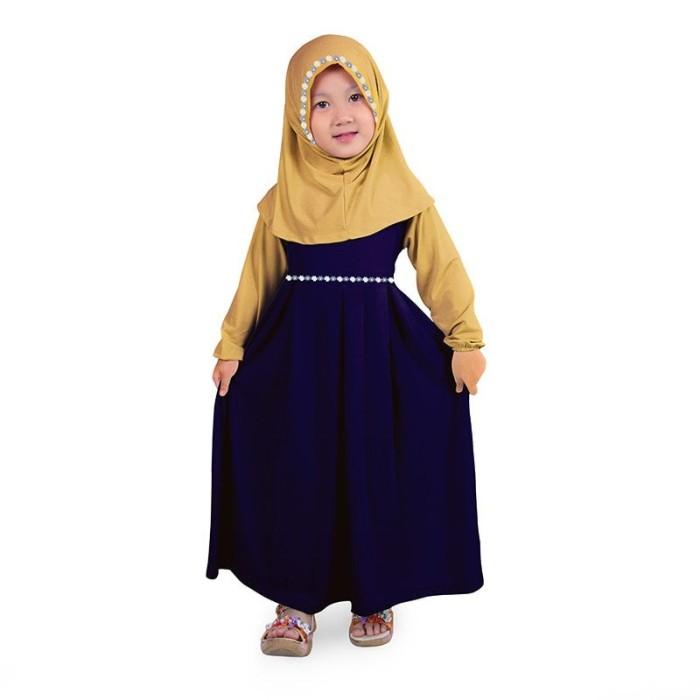 Jual Baju Muslim Gamis Anak Perempuan Warna Navy Cream