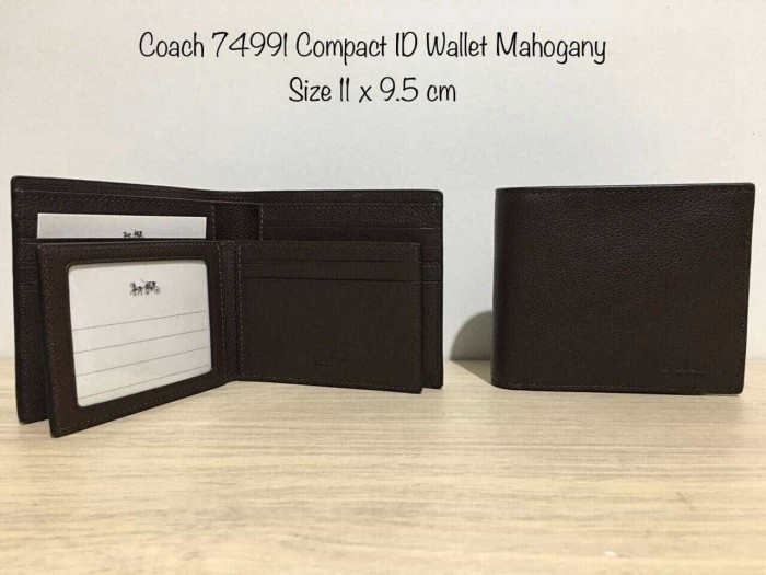 Jual Coach Wallet Men with ID Mahogany. Dompet Coach Original Men ... 858578c5da