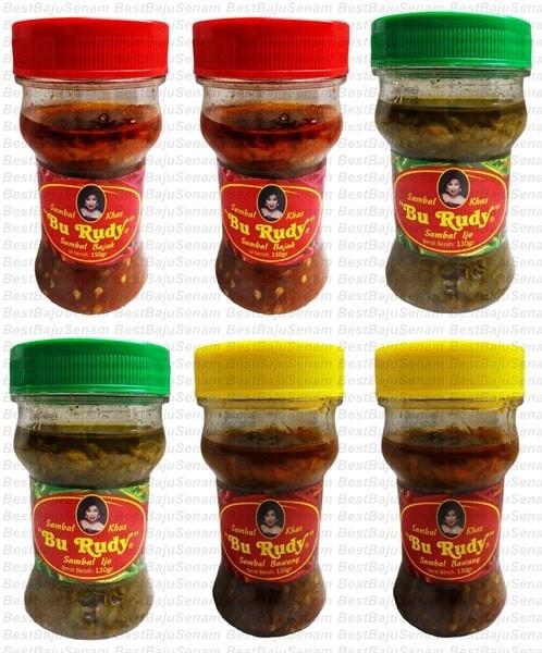 Sambal Bu Rudy Khas Surabaya - Sambal Bajak 2btl + Ijo 2btl + Bawang