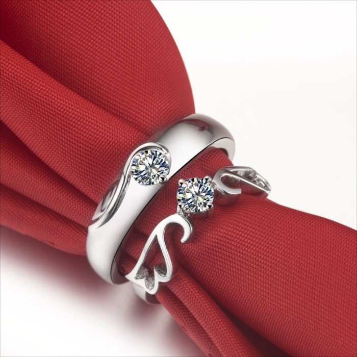 cincin angle wings elegan cowo bahan palladium cewe emas putih