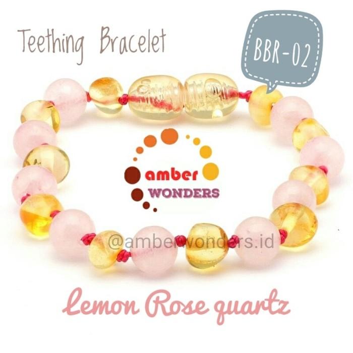 Bbr-02 gelang amber bayi pereda nyeri lemon rose quartz