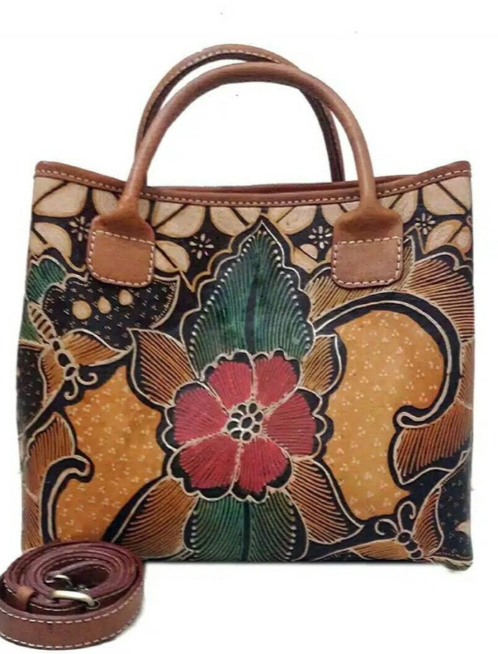 harga Tas jinjing wanita kulit sapi asli batik bunga coklat mewah murah kuat Tokopedia.com
