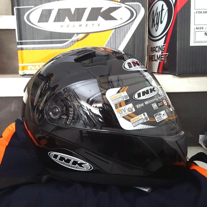 Helm INK Adventure Black Solid Fullface Flip Up Hitam Glossy 3