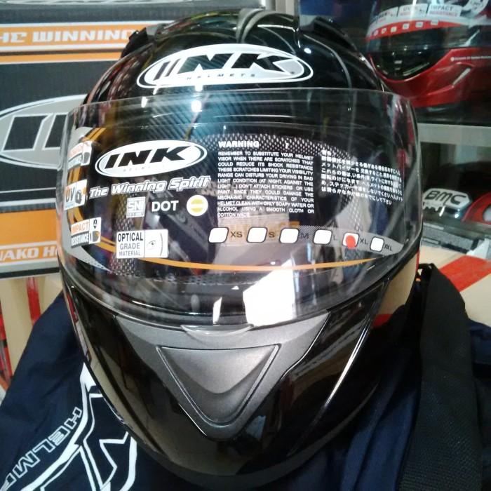Helm INK Adventure Black Solid Fullface Flip Up Hitam Glossy 1