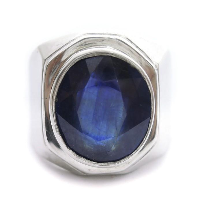 Jual Cincin Perak Batu Blue Sapphire Cincin Cowok Batu Blue