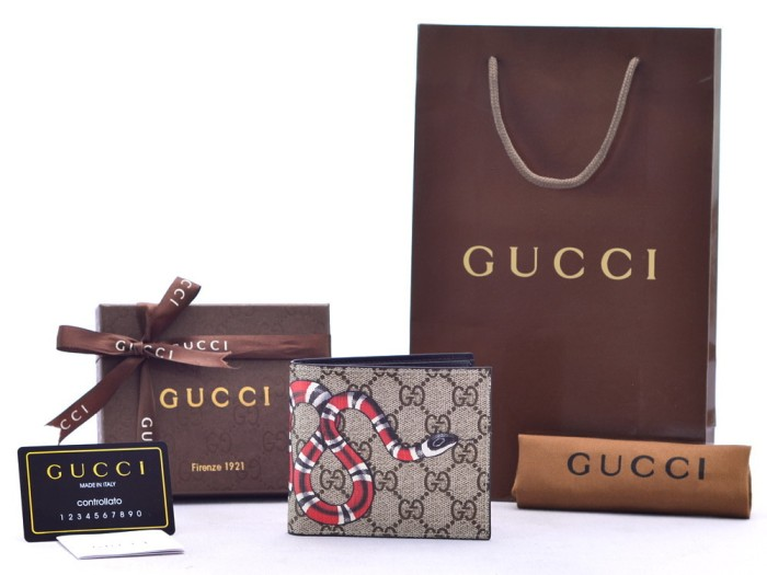 9d57e0d0c51 ... harga Dompet Cowok Pendek Gucci Bi-fold Supreme Gg Print Snake Ular P  Ori Tokopedia