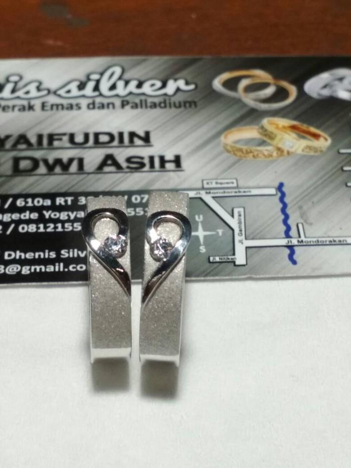 cincin kawin nikah tunangan pasangan couple perak lapis rhodium