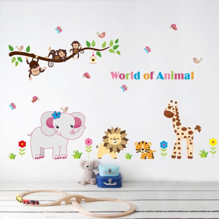 jual dunia binatang - wall sticker / stiker dinding plastik