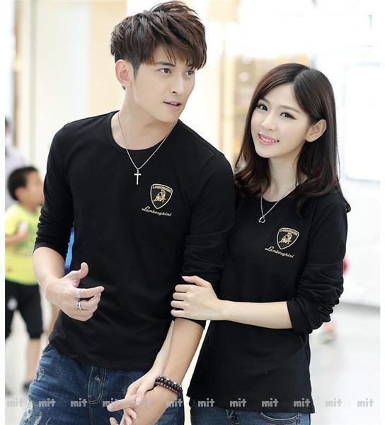 Foto Produk Baju Couple Lengan Panjang / Kaos pasangan Polos Black 10767 dari Cap Hoi Tiam