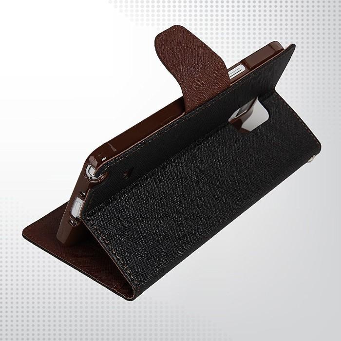 LG G4 Stylus Mercury Fancy Flip Case Casing Cover - Hitam Cokelat