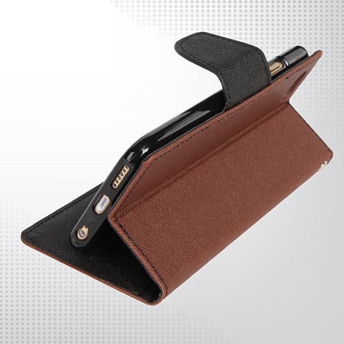 LG G3 Stylus Mercury Fancy Flip Case Casing Cover - Cokelat Hitam