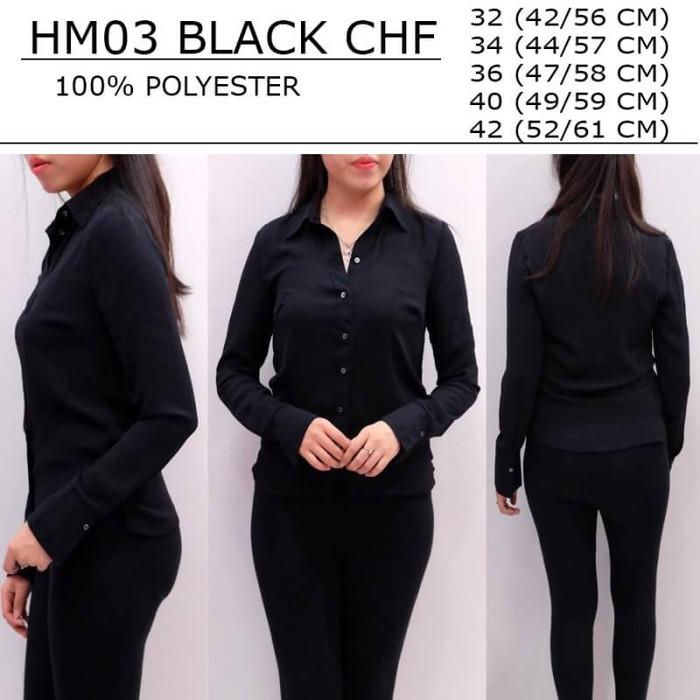 harga Baju Wanita Branded - Hm Black Chiffon Shirt Tokopedia.com