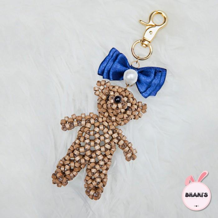Foto Produk Gantungan tas / kunci beruang lucu (pita di atas) - Navy dari bhanis