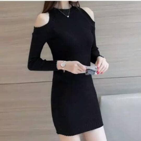 Jual Dress Nina Dress Bolong Pundak Mini Dress Span Polos Baju