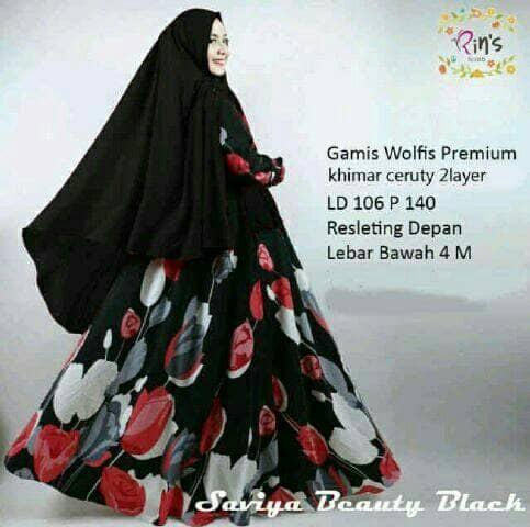 harga Gamis Wanita/maxi/busana Muslim/hijab/gamis Syari Tulip Wolfis Black Tokopedia.com