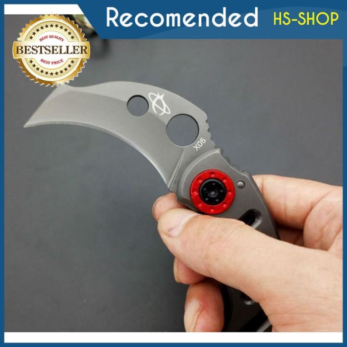 Pisau Lipat Sabit Mantis pisau tactical knife outdoor - Merah