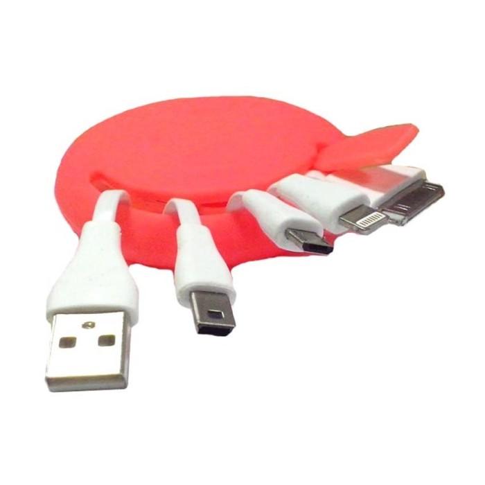 mediatech kabel charger fancy gurita silicon - orange ( 64959 )