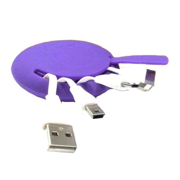 mediatech kabel charger fancy gurita silicon - ungu ( 64959 )
