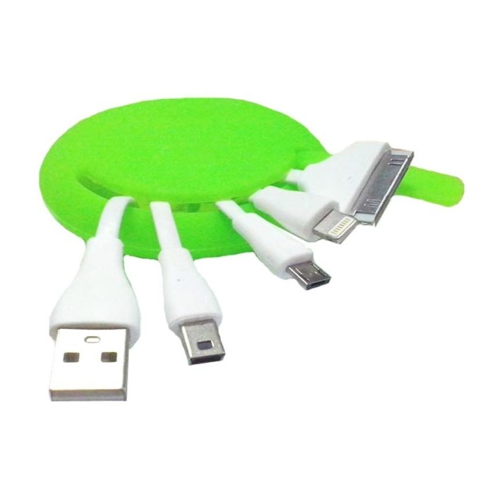 mediatech kabel charger fancy gurita silicon - hijau ( 64959 )