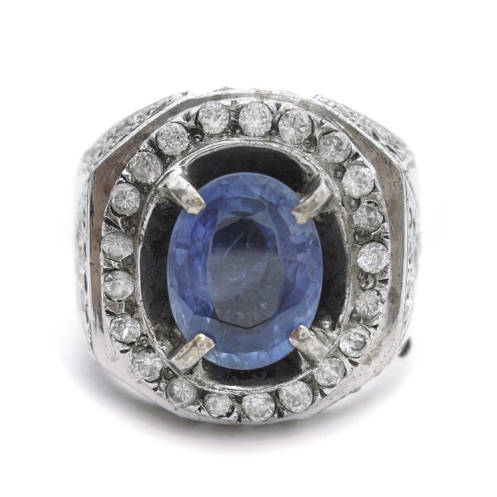 Jual Cincin Perak Batu Blue Sapphire Cincin Perak Batu Blue Safir