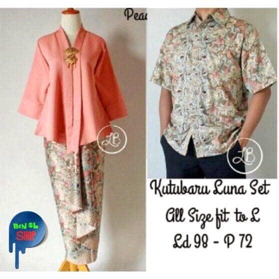 Couple Set ( Kebaya Kutubaru + Batik Pria) Luna Peach