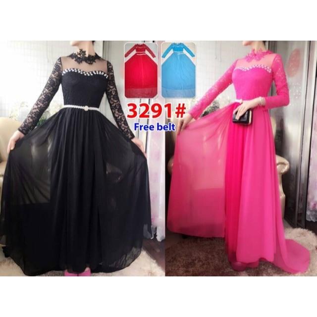 harga Long dress ekor 3291/ baju pesta/baju muslim/ baju brokat impor Tokopedia.com
