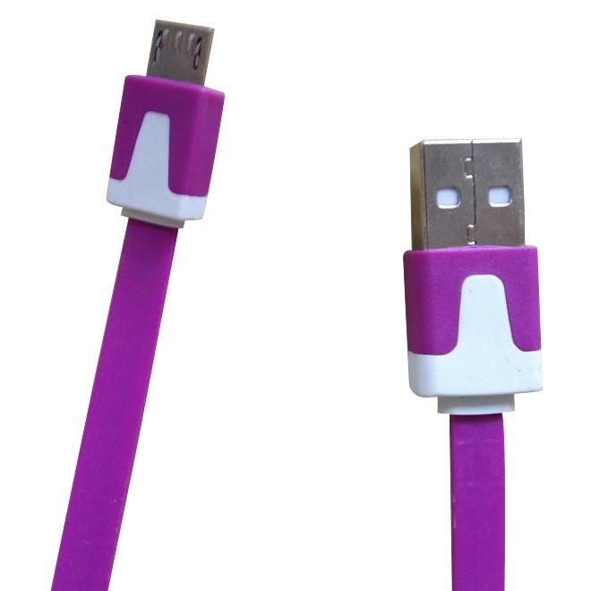 Mediatech kabel 1 m blackberry/samsung flat warna ungu ( 66949 )