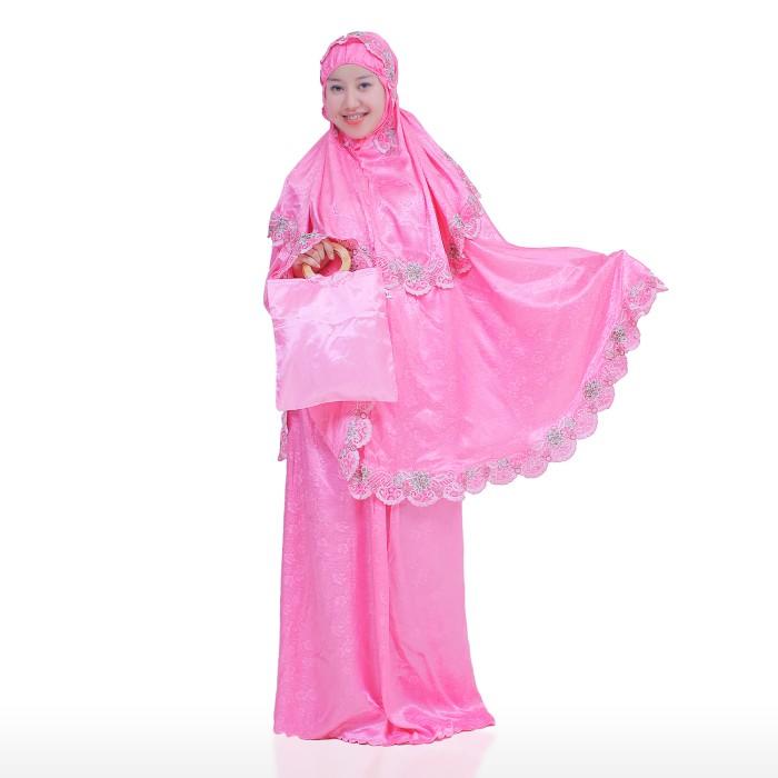 Mukena Bordir Susun Tanjung Warna Pink