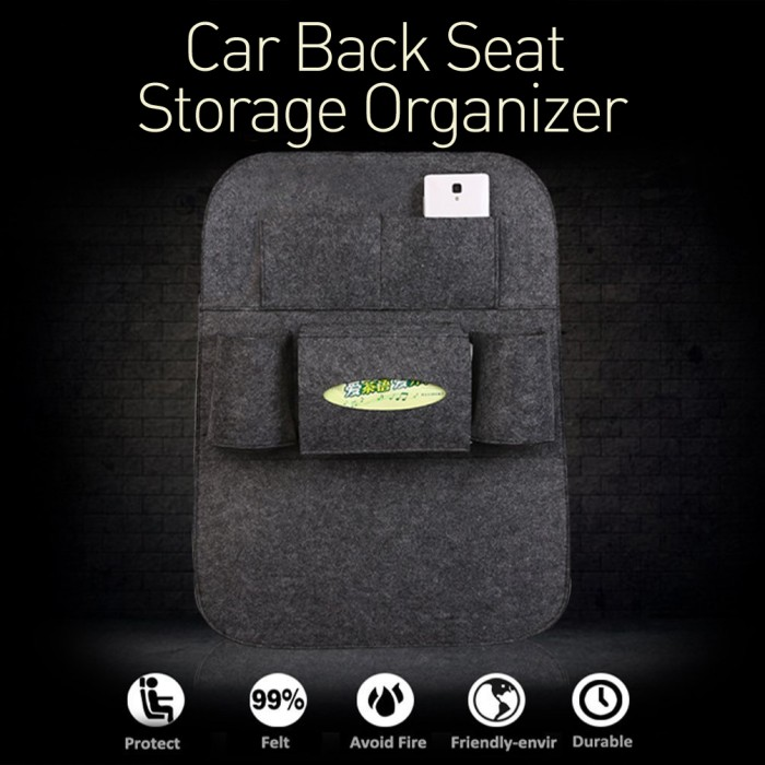 Car back seat organizer gadget hp tablet interior kursi jok mobil wool