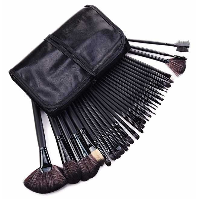 Brush make up 32 set dengan pouch - hitam