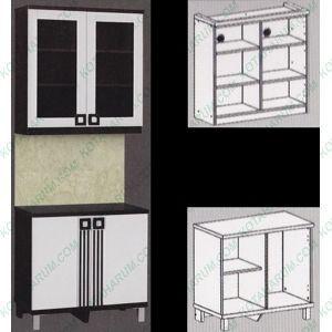 Kitchen Set Lemari Dapur 2 Pintu Kaca Atas Bawah 2562 Infinity Putih