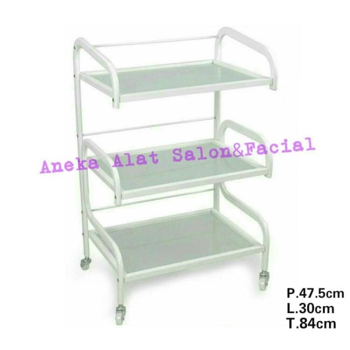 harga Rak trolley facial glass/trolley rak kaca 3 susun Tokopedia.com
