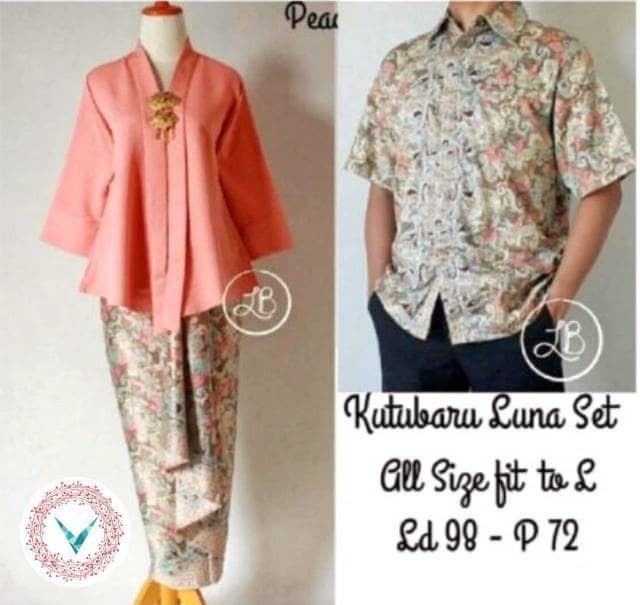 harga Couple Set ( Kebaya Kutubaru + Batik Pria ) Luna Peach Tokopedia.com