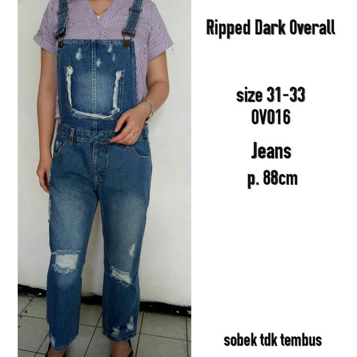 Harga Promo Celana Jeans Kodok Panjang Overall Bigsize Ripped Bulan